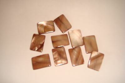 20 Pieces Mother Pearl Dyed Shell Rectangle Discs Brown