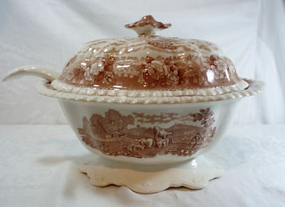 Adams English Scenic-Brown Tureen with Lid and Ladle