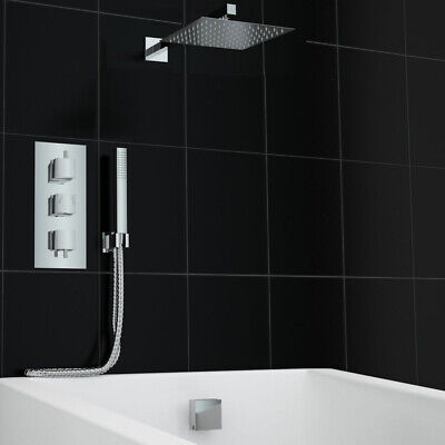Concealed Thermostatic Mixer Shower Bath Overflow Square Filler Set