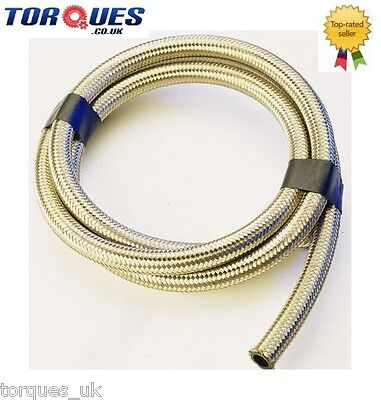"Stainless Steel Braided Fuel Hose 14.3mm 9/16"" I.D 1m"