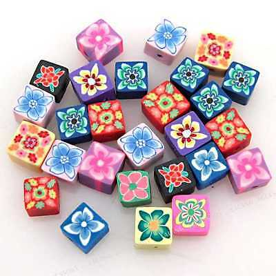 100x Mixed Square Fimo Polymer Clay Bead 6mm 110499