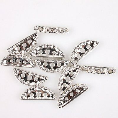 50x Crystal Semicircle Three Holes Spacer Bead Fit Bracelet 110060