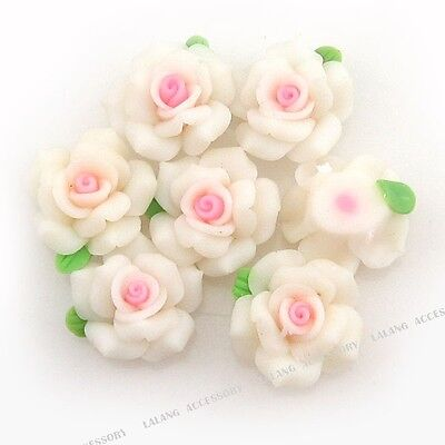 100 White Flower Fimo Polymer Clay Beads Fit DIY 110507