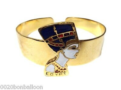 Egyptian Pharaoh Queen Nefertiti Bracelet  Cuff Brass Enameled Jewelry 108