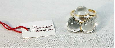 BACCARAT 18K SOLID GOLD TRIO RING CLEAR 53 6,5 US MADE IN FRANCE