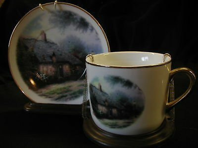 Thomas Kinkade Collectible Plate & Cup Display! Cottage