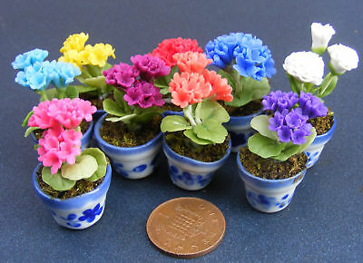 1:12 Scale Bunch Of 3 Polymer Clay Geraniums In A Ceramic Pot Dolls House Flower