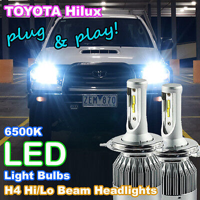 2006-2015 TOYOTA HILUX LED Headlight Upgrade Kit (2 X H4 6500K White LED Bulbs)