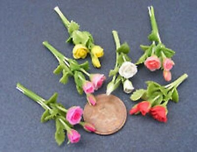 1:12 Scale Bunch Of 3 Rose Flowers Tumdee Dolls House Miniature Garden ML