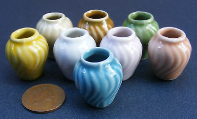 1:12 Scale Coloured Patterned Vase Dolls House Miniature Ceramic Accessory