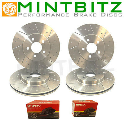 BMW 5 E39 530d 08/98-01/01 Front & Rear Brake Discs & Pads Dimpled Grooved