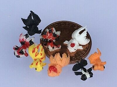 1:12 Polymer Clay Fan Tail Gold fish (6) Dolls House Miniature Pond Accessory