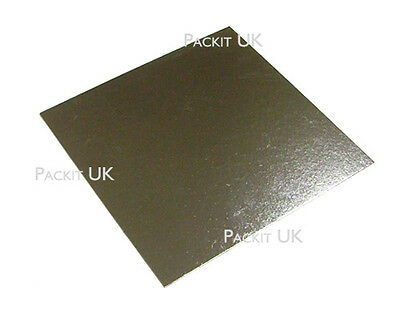 "10"" Inch Square Silver Cake Board Base 3mm DOUBLE THICK"