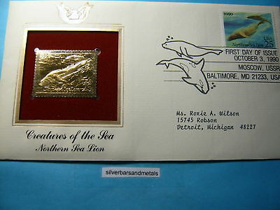 Northern Sea Lion 22Kt Gold Stamp Commemorative Stamp