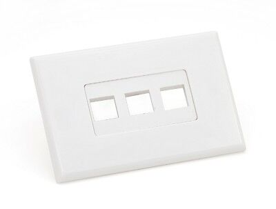 Keystone wall plate - 3 port white - screwless