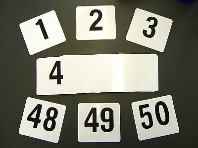 """Double Side Plastic Table Number Banquet 1-50 4"""" x 4"""""""