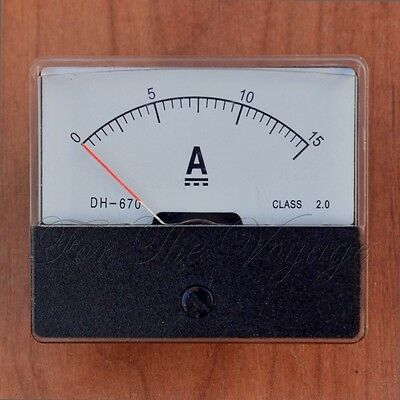 0- 15A DC Ammeter Amp Panel Meter Analogue Analog with Internal Current Shunt