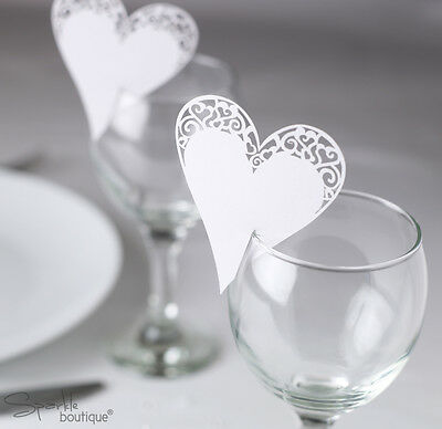 White Heart Place Cards For Glass - Laser Cut x 10 - Wedding - HIGH QUALITY