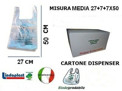 500 Shopper SACCHETTI BUSTE COMPOSTABILE  BIODEGRADABILI COMPOSTABILI gr.6,5