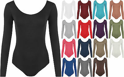 New Plus Size Womens Long Sleeve Scoop Neck Ladies Bodysuit Leotard Top 16-26