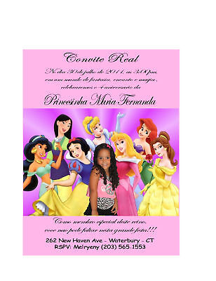10 DISNEY PRINCESS Birthday Invitations