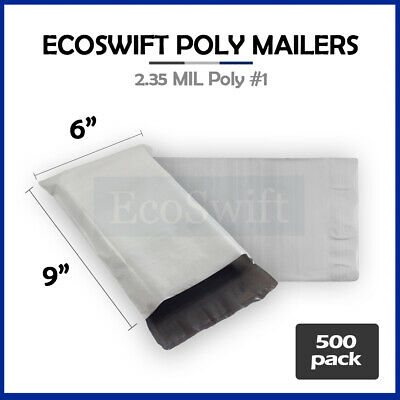 500 6x9 WHITE POLY MAILERS SHIPPING ENVELOPES BAGS 2.35 MIL 6 x 9