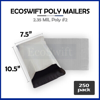 250 7.5x10.5 WHITE POLY MAILERS SHIPPING ENVELOPES BAGS 2.35 MIL 7.5 x 10.5