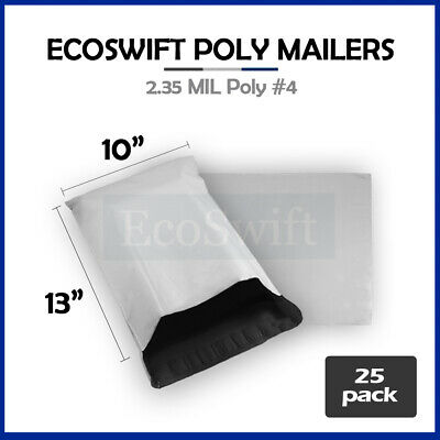 25 10x13 WHITE POLY MAILERS SHIPPING ENVELOPES BAGS 2.35 MIL 10 x 13
