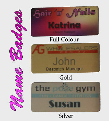 10 x NAME BADGES w/ PIN tags business work staff 7x3 cm metal cheap budget