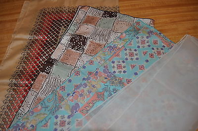 4 vintage assorted  SCARF LOT SHEER RETRO FLORAL BOHO