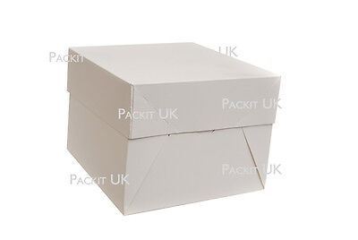 "White Cake Boxes 8 x 8 x 6"" Inch Wedding Birthday Party"