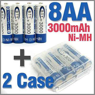2 x Case + 8 AA Ni-MH 3000mAh rechargeable battery BTY