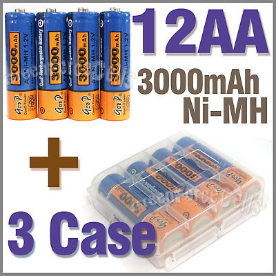 3 Case + 12 AA NiMH 3000mAh rechargeable battery GoBlue