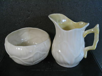 Belleek LILY 2PC CREAMER & SUGAR Yellow Handle