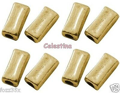 20 Rectangle Metal Beads - Antique Gold OBLONG Charms LF NF Chunky 11mm x 5mm