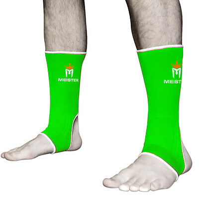 MEISTER ADULT MMA ANKLE SUPPORTS - NEON GREEN Muay Thai Kickboxing Wraps (PAIR)
