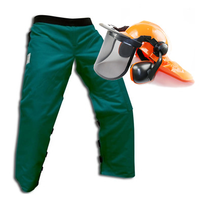 "Safety Helmet and Large 40"" Green Protective Chainsaw Safety Chaps"