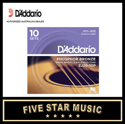 D'addario Ej26 10 Pack Acoustic Guitar String Sets 11-52 J26 New Pro Daddario