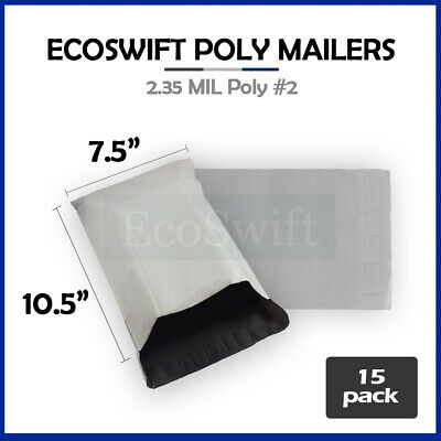 15 7.5x10.5 WHITE POLY MAILERS SHIPPING ENVELOPES BAGS 2.35 MIL 7.5 x 10.5
