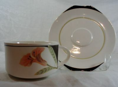 Villeroy and Boch Iris Peach/Black Cup and Saucer