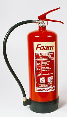 3 Large 6 Litre Foam Fire Extinguishers For Industrial Work Use - New