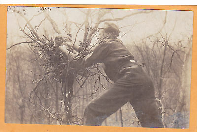 Real Photo Postcard RPPC - Man Getting Owl from Nest