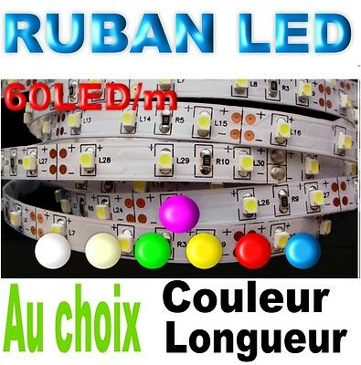 Ruban LED longueur 1à10m + alimentation 60 LED 3528/m
