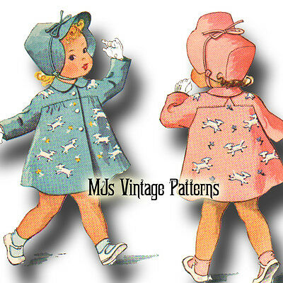 Vintage Child's Coat Pattern w/ Applique Lambs ~ sz 6mo