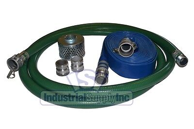 "3"" Trash Pump Suction w/25FT Discharge Hose Kit w/Cams"