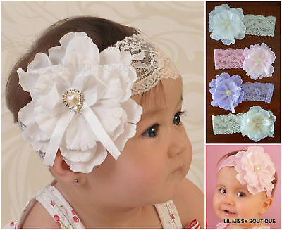 Baby Headbands Headband Lace Flower Girl Christening Wedding White Cream