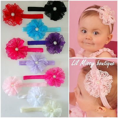 Baby Headbands Headband Lace Flower Girl Newborn Toddler Hair Band Christening