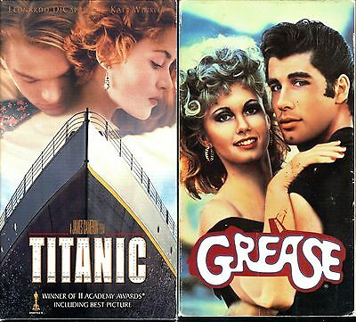 Titanic (2-Tape Set) & Grease - 2 Romantic VHS Tapes