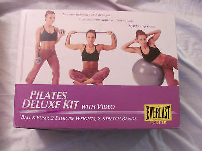 Everlast Deluxe Pilates Kit BALL~PUMP~2 WEIGHTS~2 BANDS~VHS TAPE