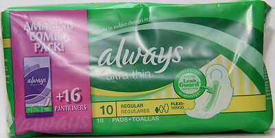 3 Always Ultra Thin Maxi Pads Wings & Bonus Pantiliners